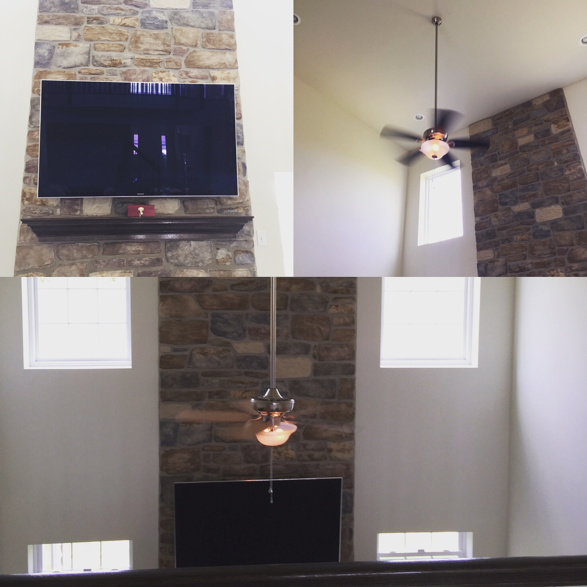 tv mounting and ceiling fan